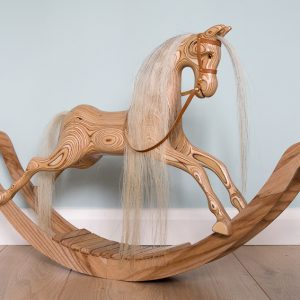 Wooden Rocking Horse – Light Grey Mane